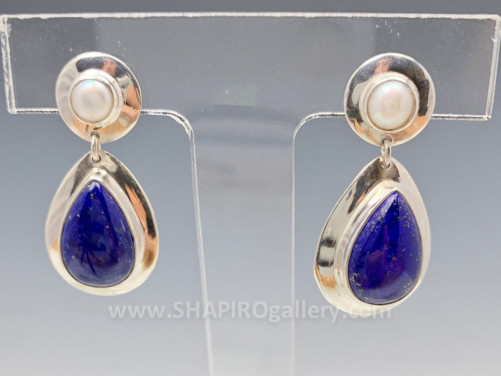 Lapis and Pearl Post Earrings