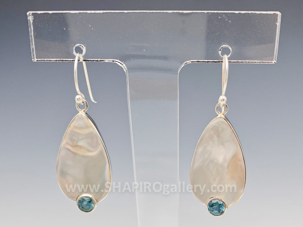 Blister Pearl and Blue Topaz Earrings