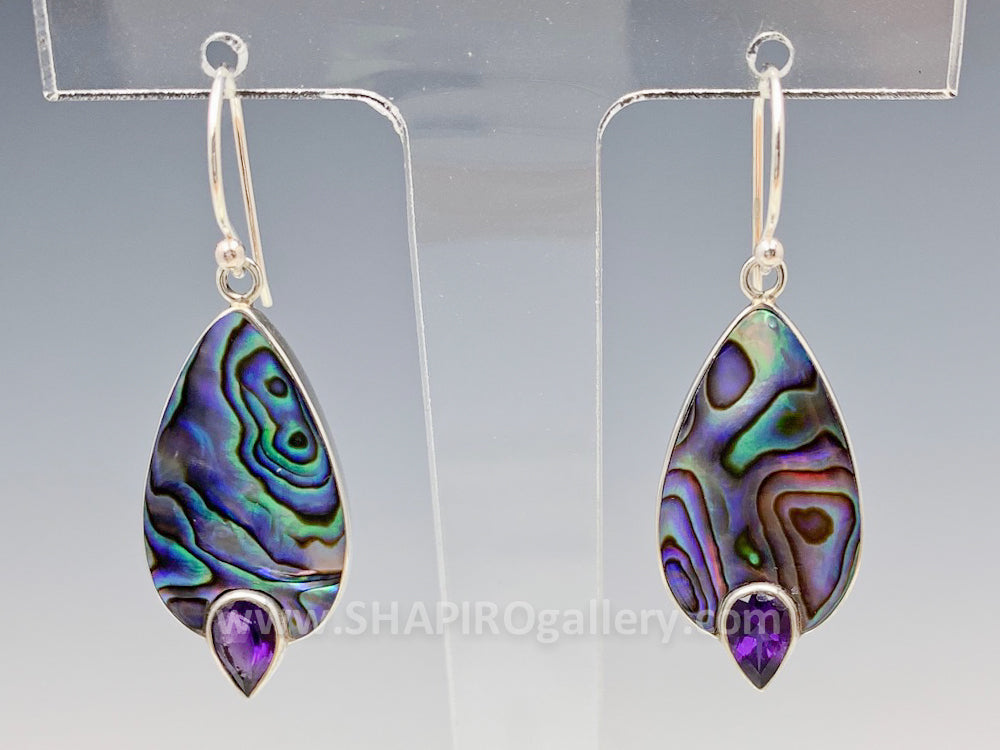 Abalone and Amethyst Earrings