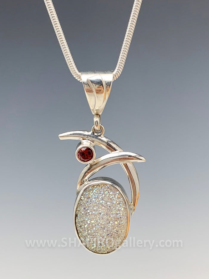 Double Swoop White Druzy and Garnet Necklace