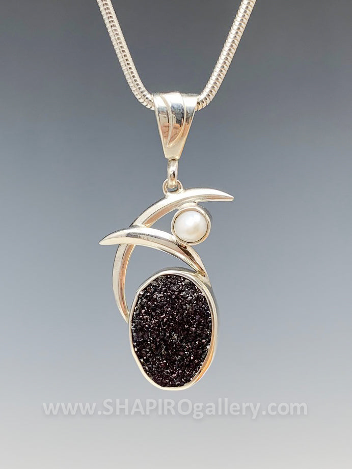 Double Swoop Black Druzy and Pearl Necklace