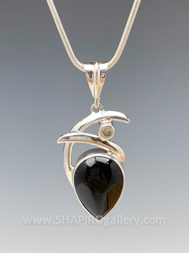 Double Swoop Onyx and Cubic Zirconia Necklace