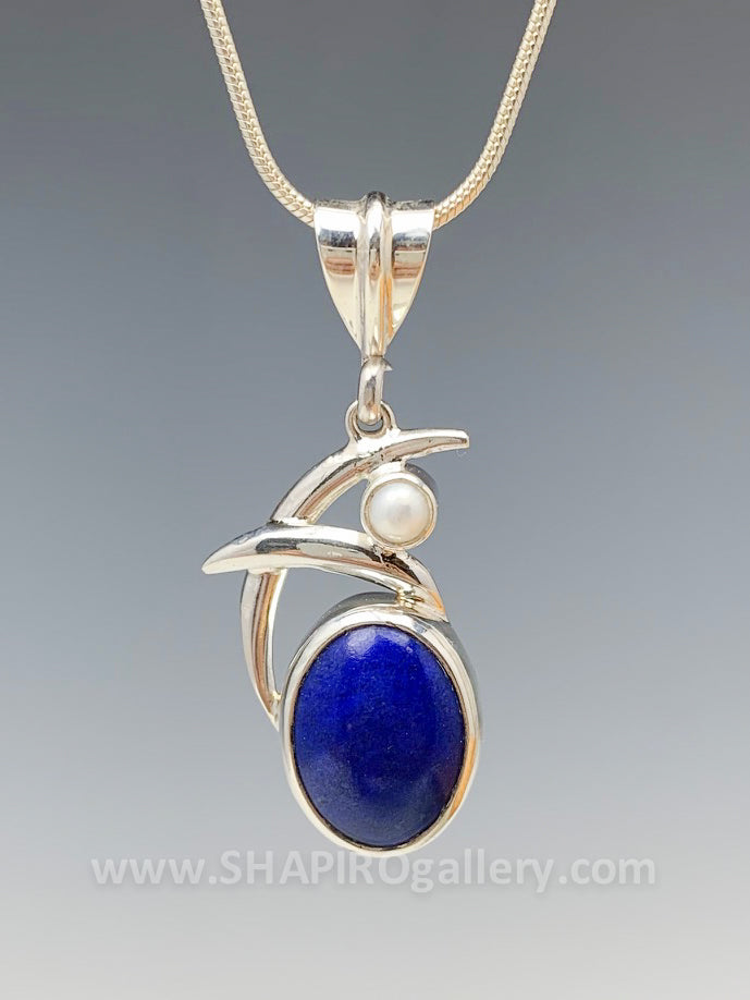 Double Swoop Lapis and Pearl Necklace