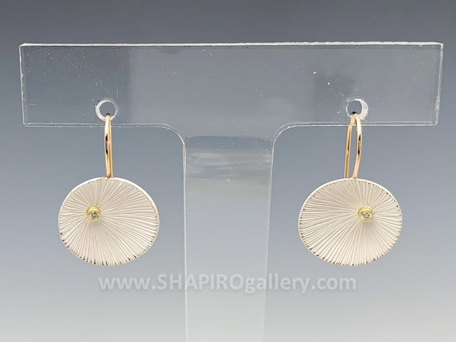 Bright Sand Dollar Earrings with Diamond