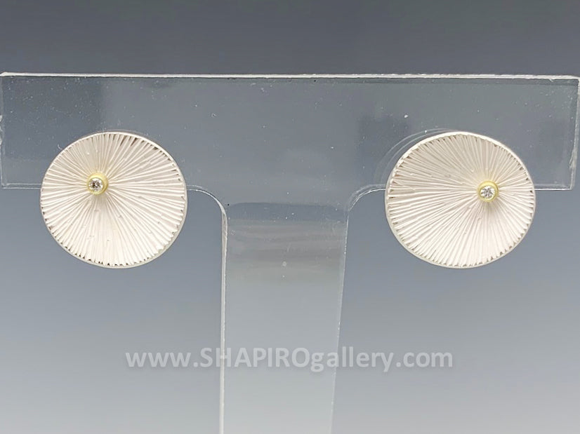 Bright Sand Dollar Post Earrings with Diamond