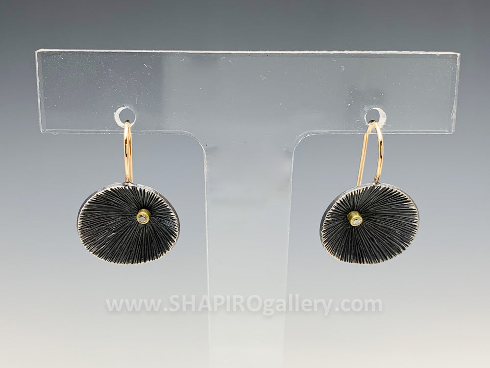 Oxidized Sand Dollar Earrings with Diamond