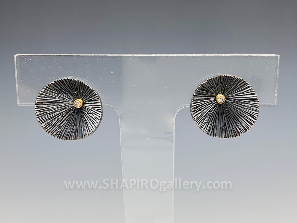 Oxidized Sand Dollar Post Earrings with Diamond