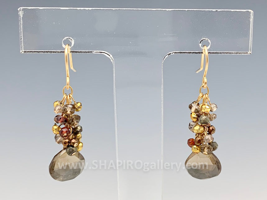 Smokey Quartz Cluster Earrings