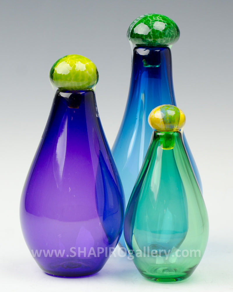 Small Genie Bottles Set of Three - Blue