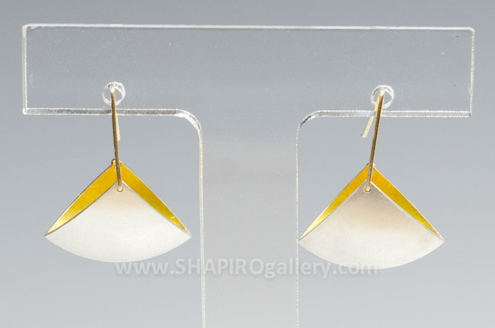 Small Fan Hook Earrings Sterling Silver and Gold Interior