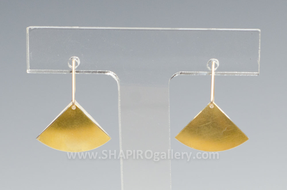 Small Fan Hook Earrings Gold and Sterling Silver Interior