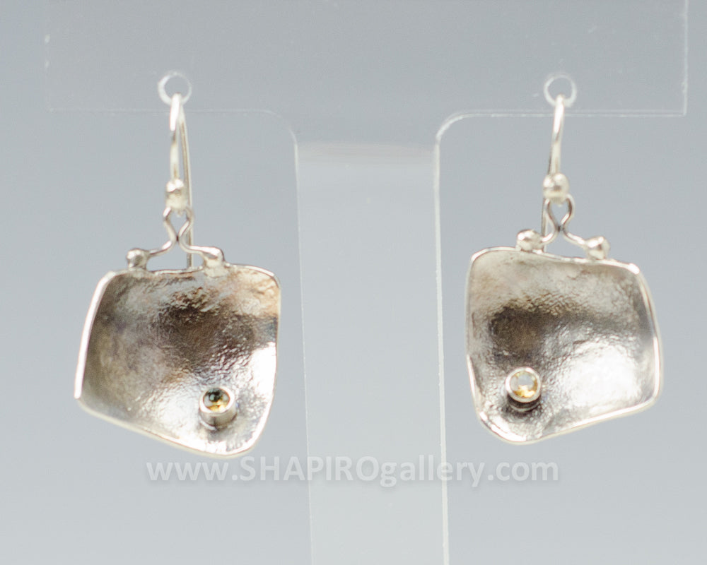 Reticulated Silver Square Earrings