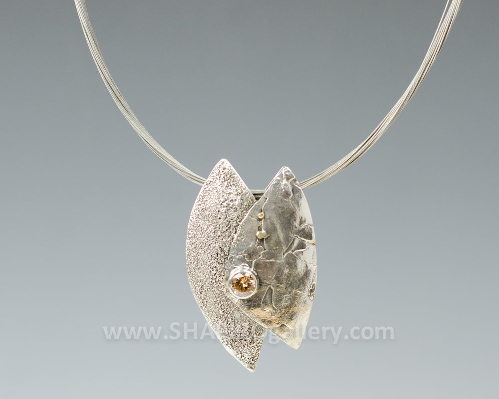 Abstract Reticulated Sterling Silver Necklace
