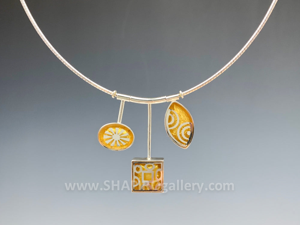 Sterling Silver and Gold Leaf 3 Drop Necklace