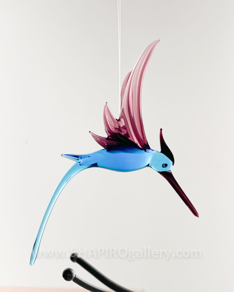 Glass Hummingbird - Purple and Blue
