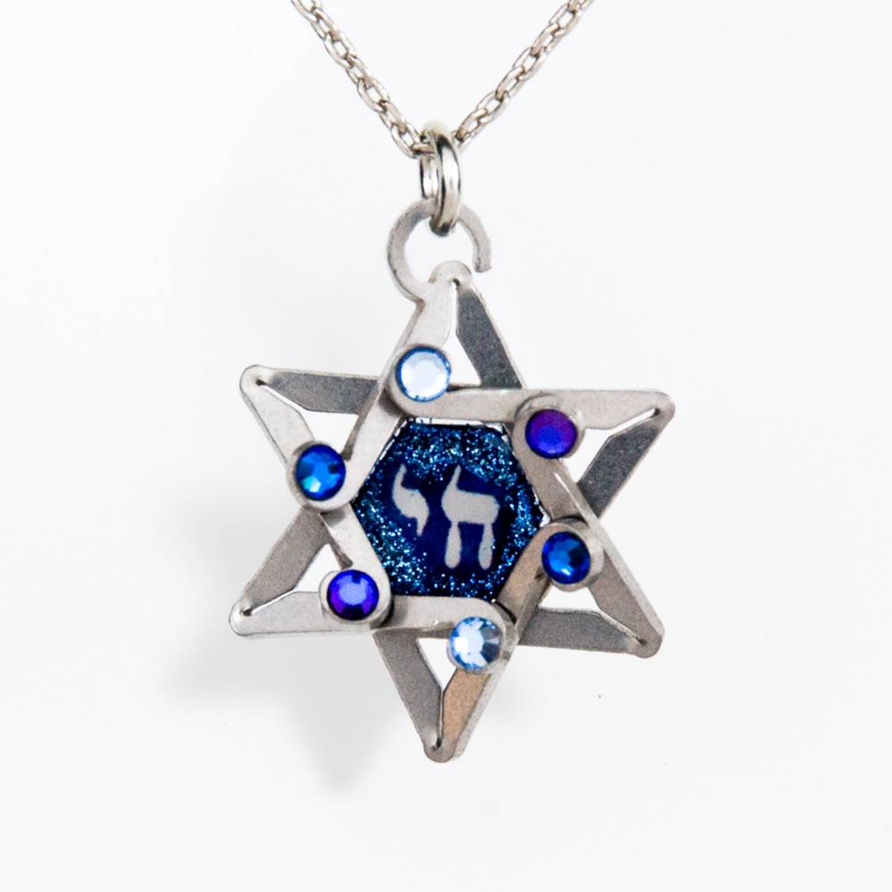 Blue Star with Chai Necklace