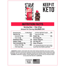 Load image into Gallery viewer, Keto Krisp Nutritional Facts - Chocolate Raspberry