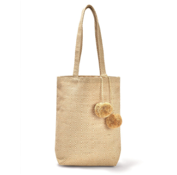Jute Totes Bags with PomPom Tassle. 3 Patterns