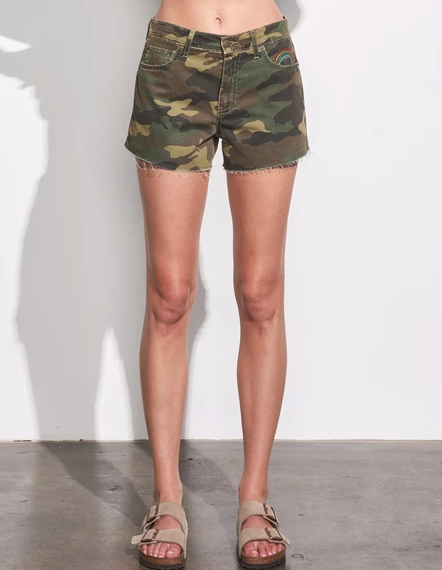 Sundry Camo Embroidered Relaxed Short