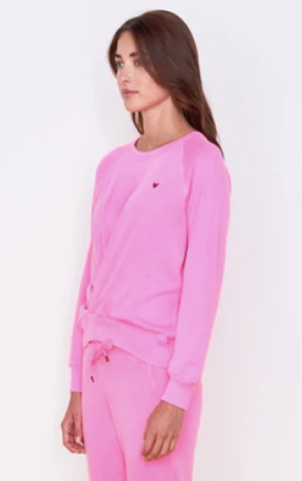 Sundry Embroidered Heart Sweatshirt - Neon Pink