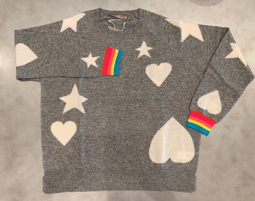 BRODIE CASHMERE Hearts and Stars Rainbow Cuff Cashmere Sweater