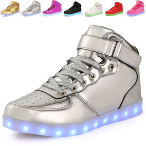 High Top Silver Light up LED Shoes for Kids and Adults - iLED Shoes