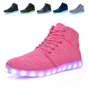 High Top Pink-Stitched Light up LED Shoes for Kids and Adults - iLED Shoes