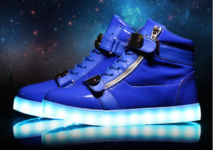 High Top Lace Up Leather LED Light Up Shoes (Boots) for Men