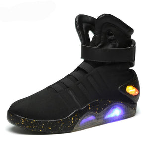 Men's Black LED Light Up Back To The Future Skateboarding Shoes Limited Edition