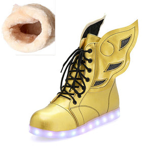 White or Gold Light Up LED Shoes with Wings Flat Patent Leather Ankle Boots for Women