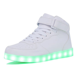 Kids Boy and Girl's High Top White LED Sneakers Light Up Flashing Shoes