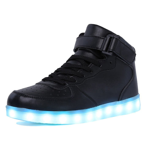 Adults & Kids High Top Black LED Light Up Shoes