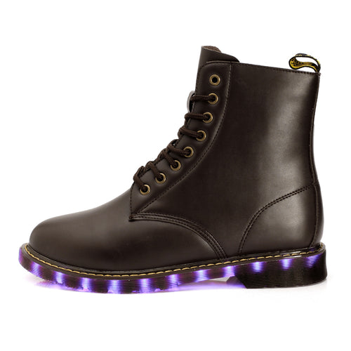 Men High Top Fashion Black - Brown LED  Lights Up Motorcycle Boots