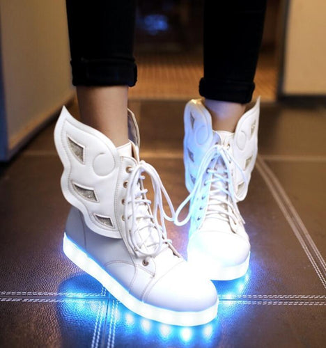 Womens Wing Decor Lace Up  LED Lights Up  Ankle Boots Shoes Sneakers