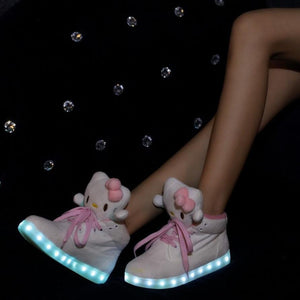 Hello Kitty Women LED Light Up Glowing big Shoes