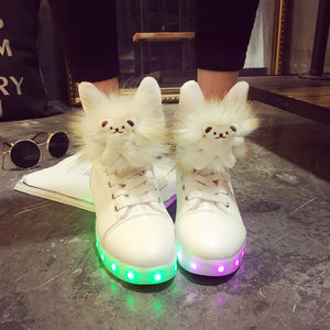 Womens Cat Fashion LED Light Up Sneakers