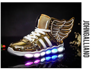Gold Light Up Shoes with Wings for Kids