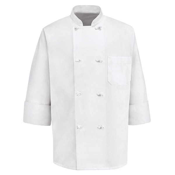 White Eight Knot Button Chef Coat