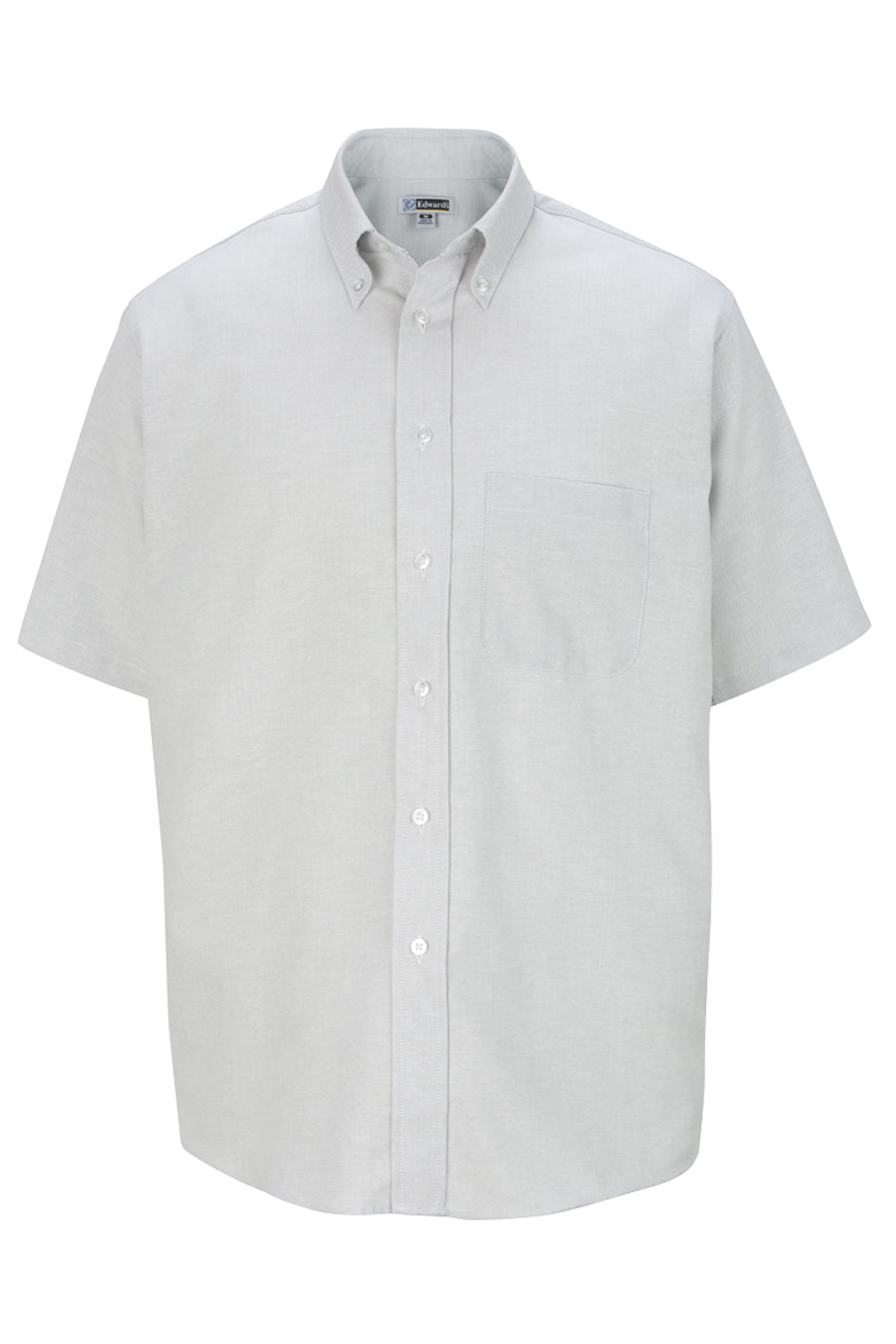 Light Grey Edwards Mens Short Sleeve Oxford Shirt