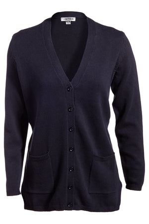 Navy Edwards Ladies V-Neck Long Cardigan Sweater