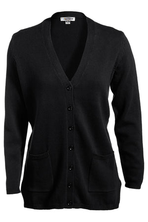 Black Edwards Ladies V-Neck Long Cardigan Sweater