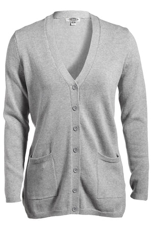 Heather Grey Edwards Ladies V-Neck Long Cardigan Sweater