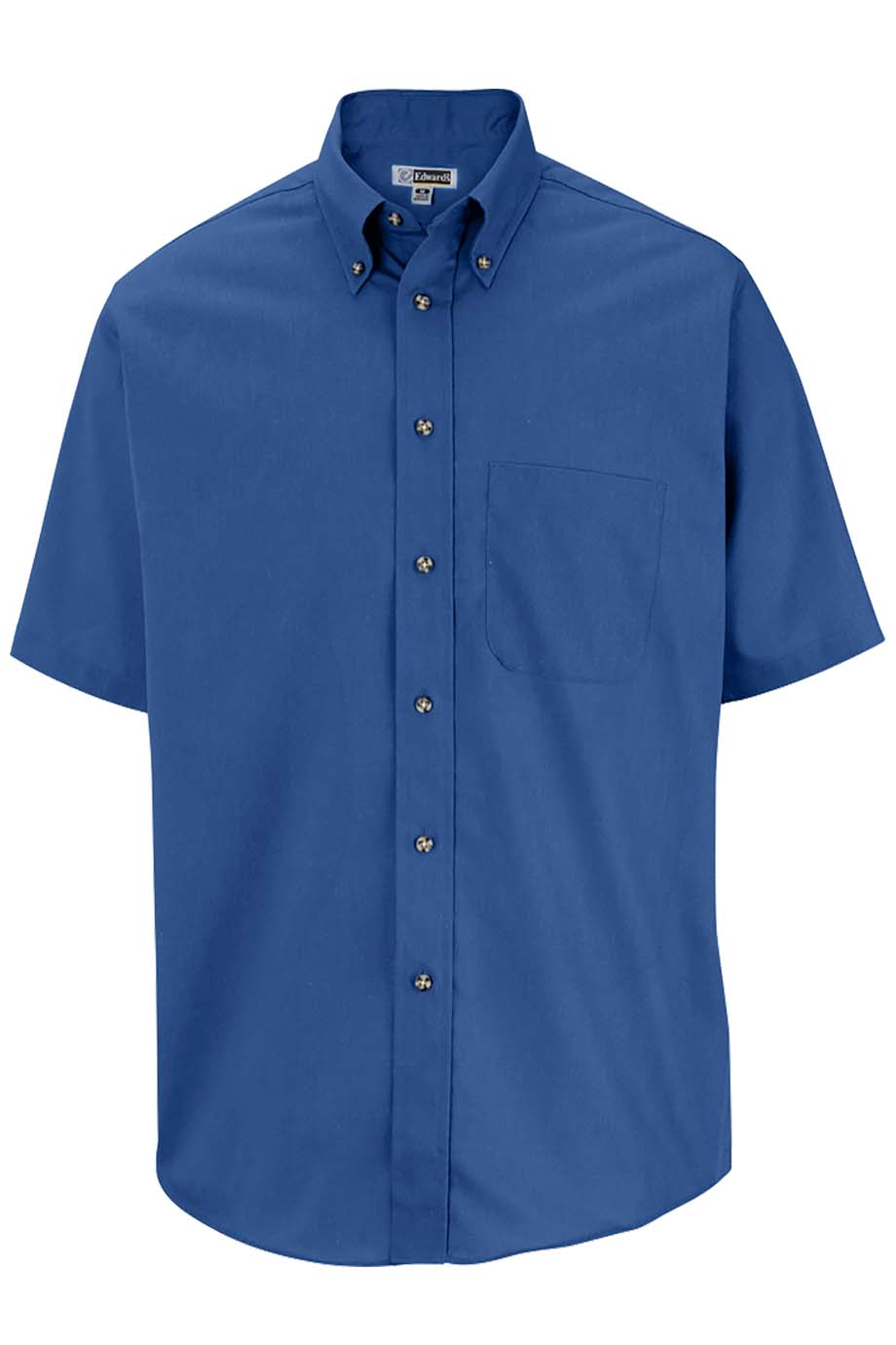 French Blue Edwards Mens Easy Care Short Sleeve Poplin Shirt