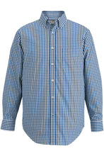 Royal/White Gingham Edwards Mens L/S Stretch Poplin Shirt