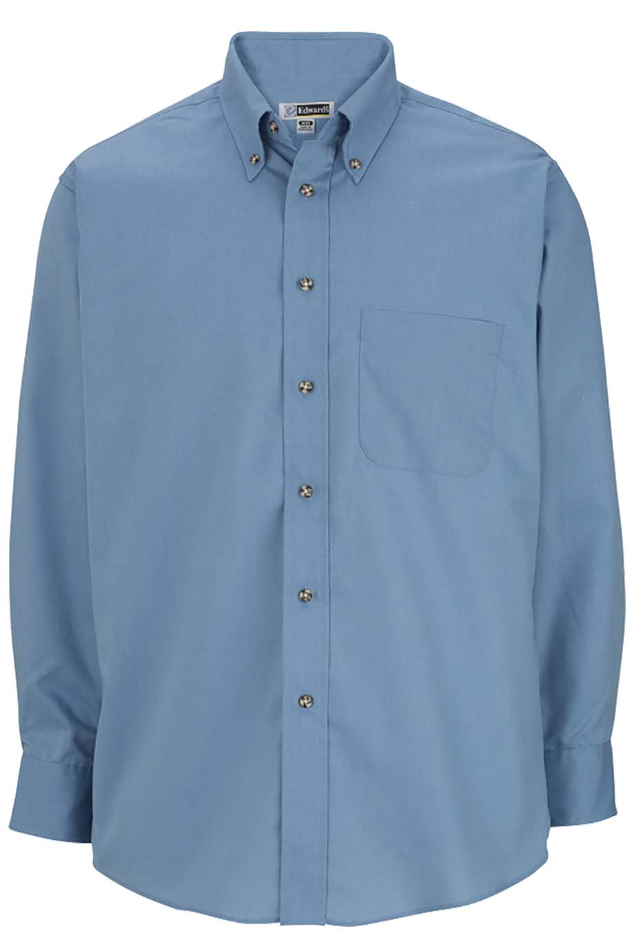 Denim Blue Edwards Mens Easy Care Long Sleeve Poplin Shirt