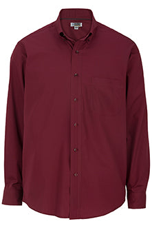 Burgundy Edwards Mens Lightweight Long Sleeve Poplin Shirt