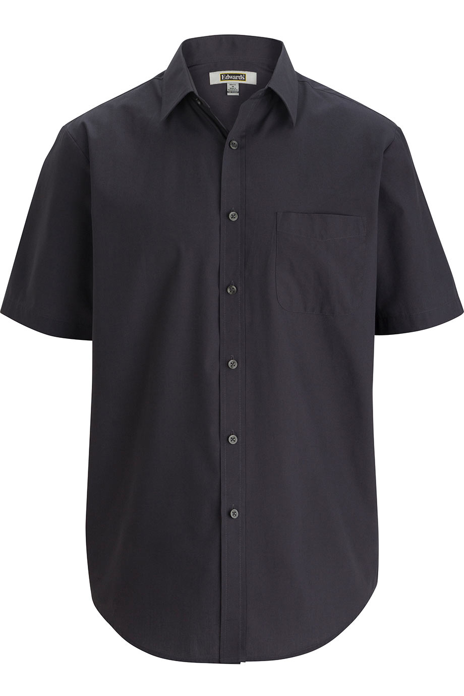 Dark Grey Edwards Mens Essential Broadcloth Shirt Short Sleeve