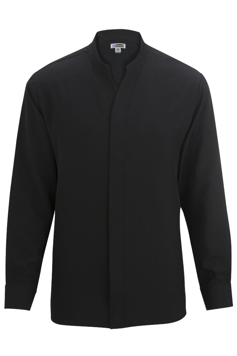Black Edwards Mens Stand-Up Collar Shirt