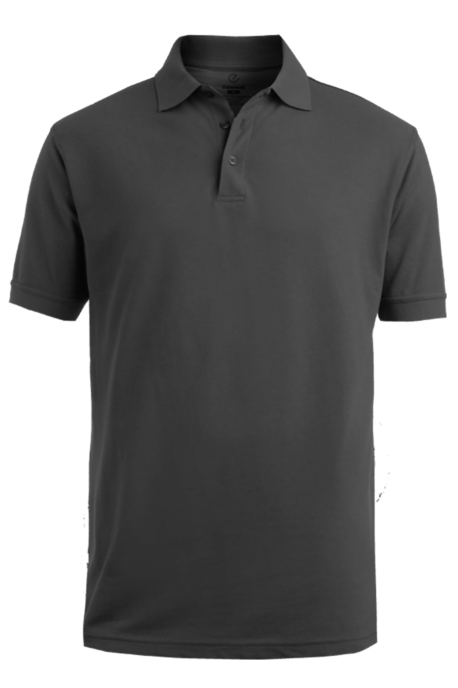 Steel Grey Edwards Mens Blended Pique Short Sleeve Polo