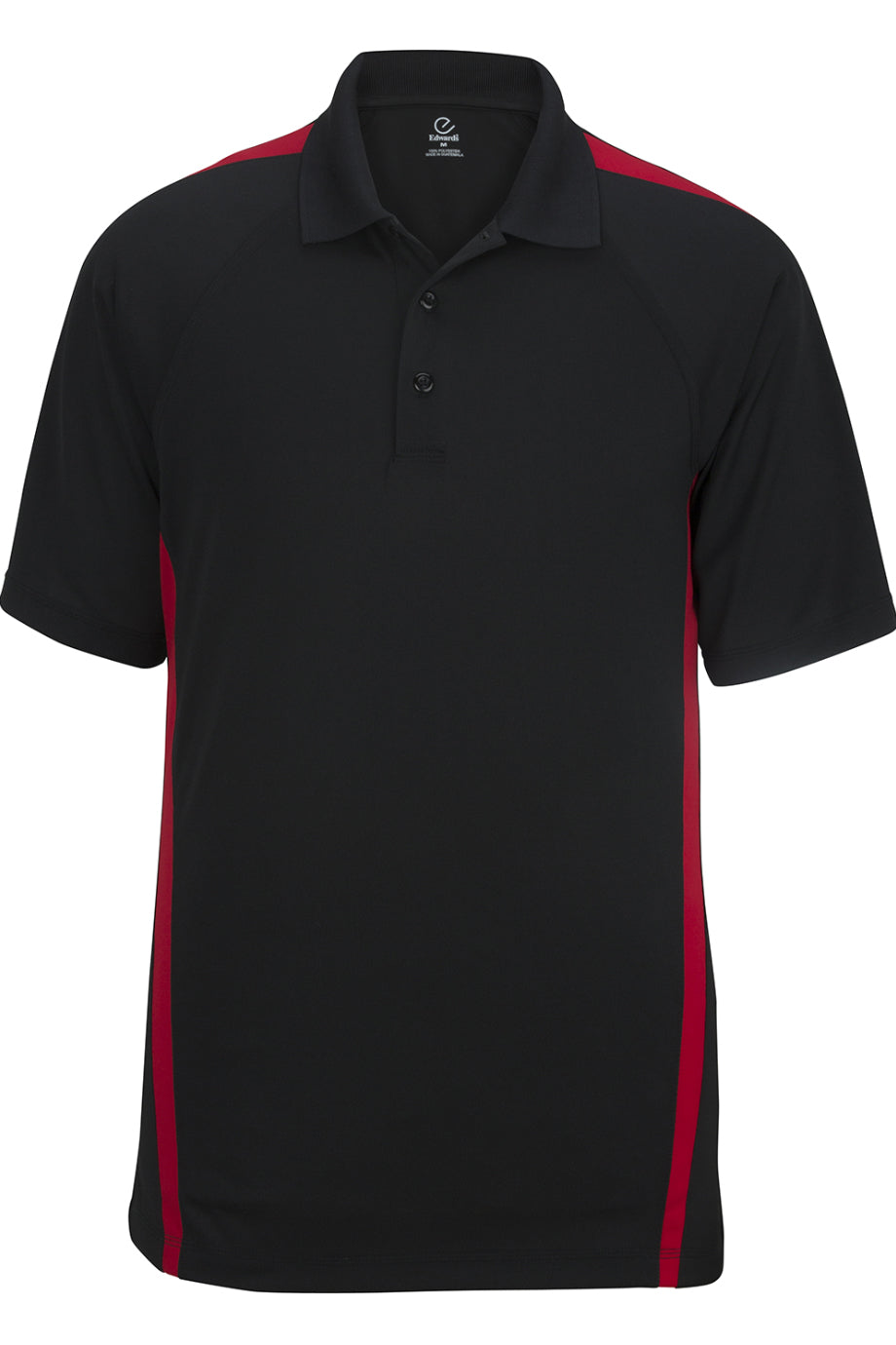 Black With Red Edwards Mens Snag-Proof Color Block Short Sleeve Polo